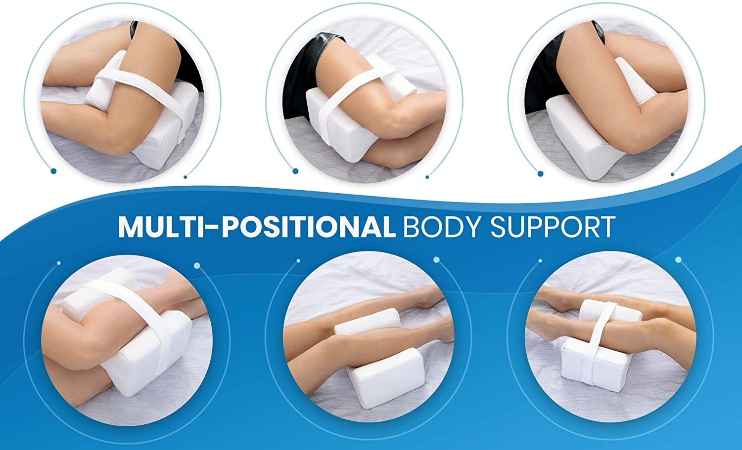 The pillow being used six different ways on model's legs
