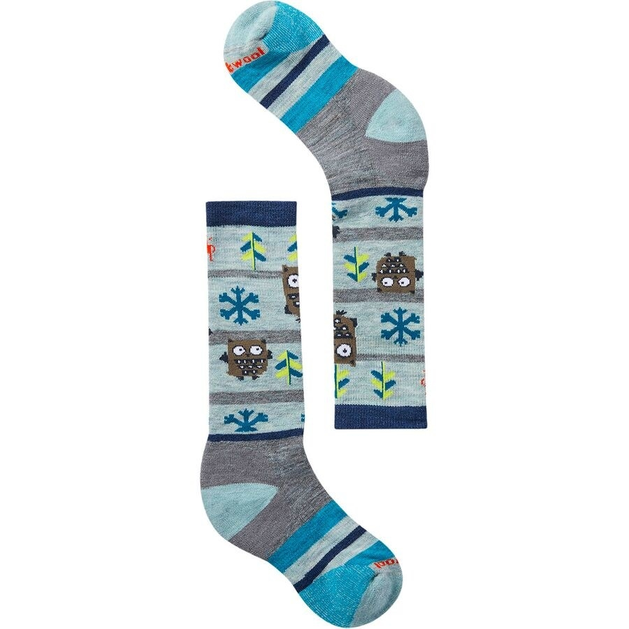 The tall socks with blue, gray, and navy strips and printed with owls, trees, and snowflakes