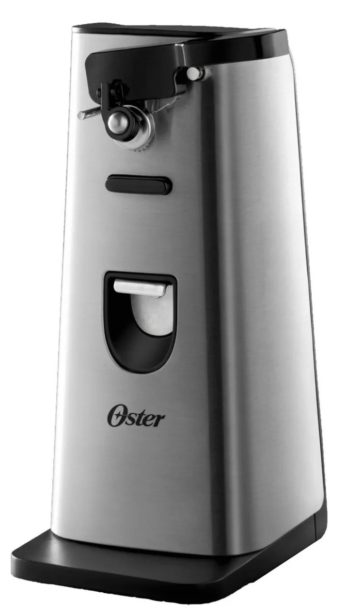 a silver and black electronic can opener