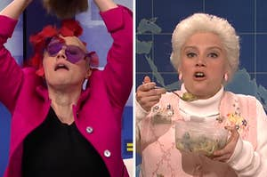 Kate as Elizabeth Warren dropping rose petals from underneath her wig on the left, and as deenie on the right