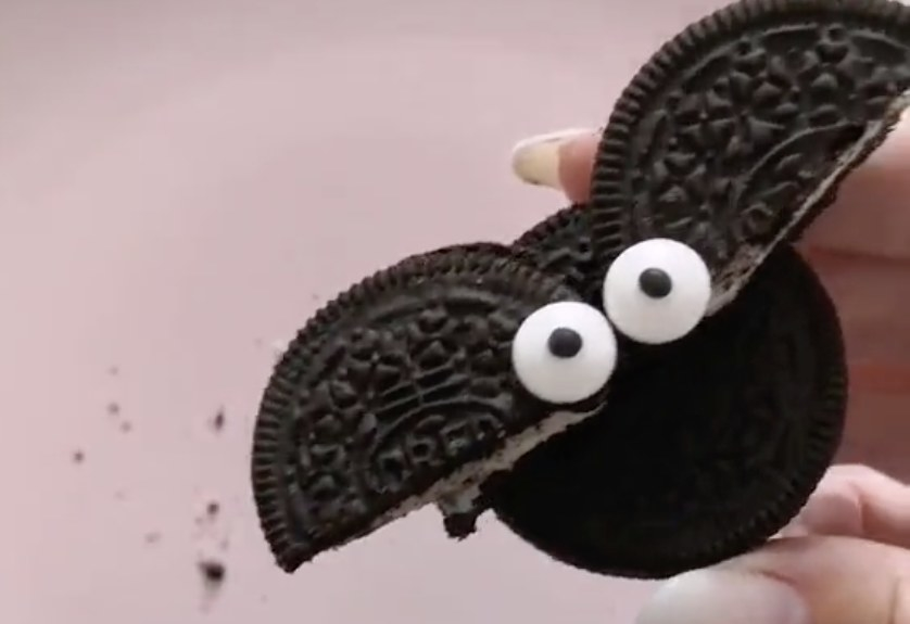 Oreos shaped like bats with eyes