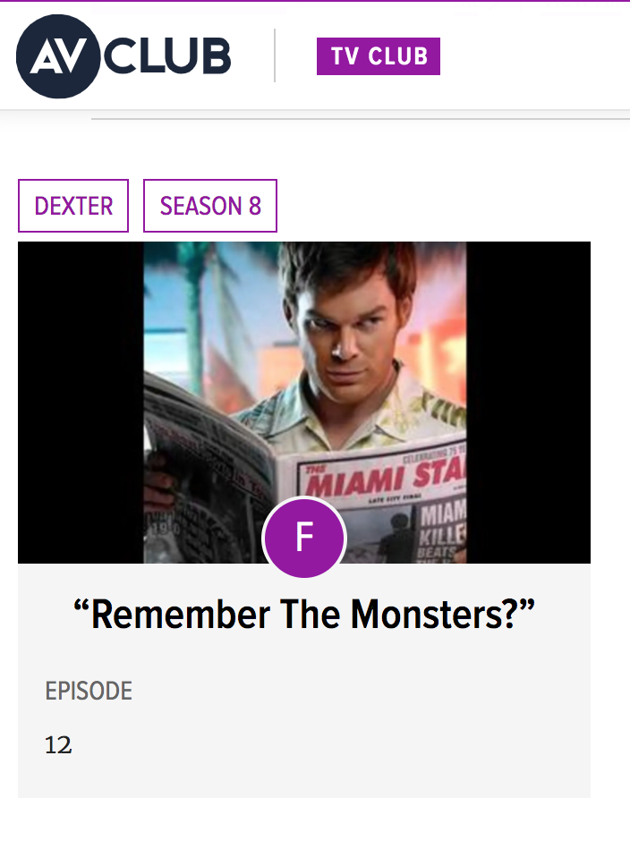 "AV Club rating of Dexter finale episode with an ""F"""