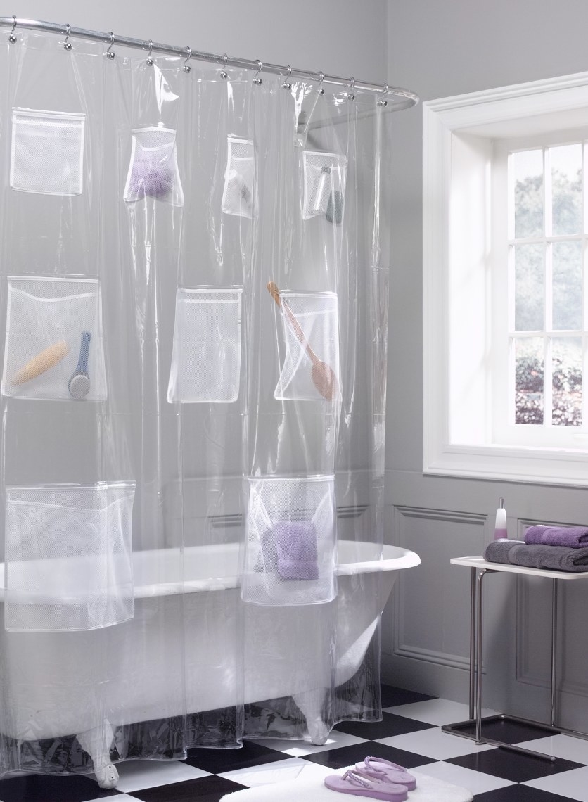 The shower curtain liner with pockets