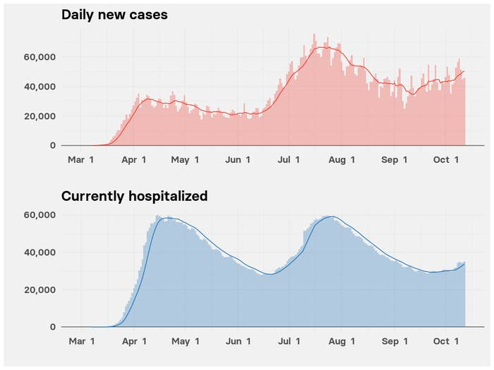 Charts show the three surges in cases since March and the start of a third surge in hospitalizations