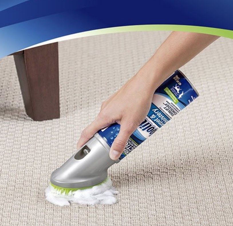 Woolite carpet cleaner with lime green brush head attached to cleaning solution in blue and gray bottle