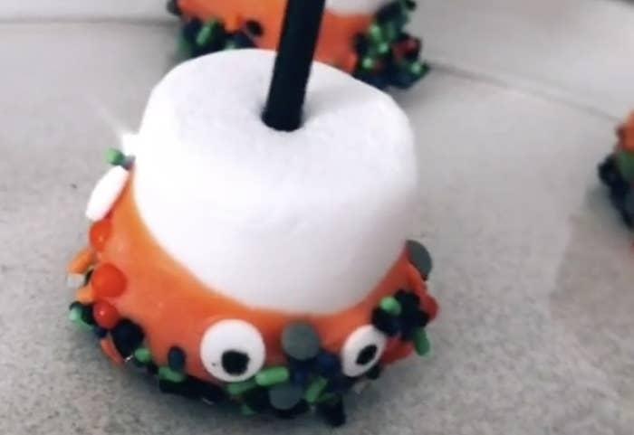Marshmallow with orange candy coating