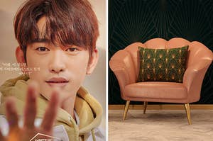 The poster for He Is Psychometric next to an image of a comfy art deco chair