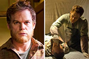 Michael C. Hall as Dexter with a beard and Dexter in his kill room
