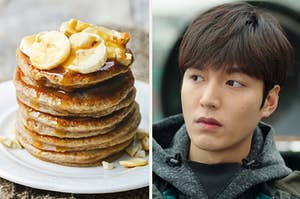 An image of pancakes next to an image of Lee Min Ho
