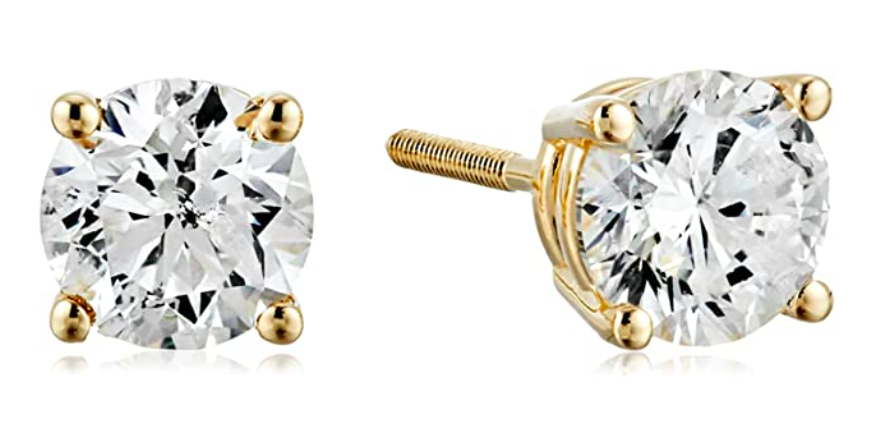 The diamond earrings in the yellow gold backing option