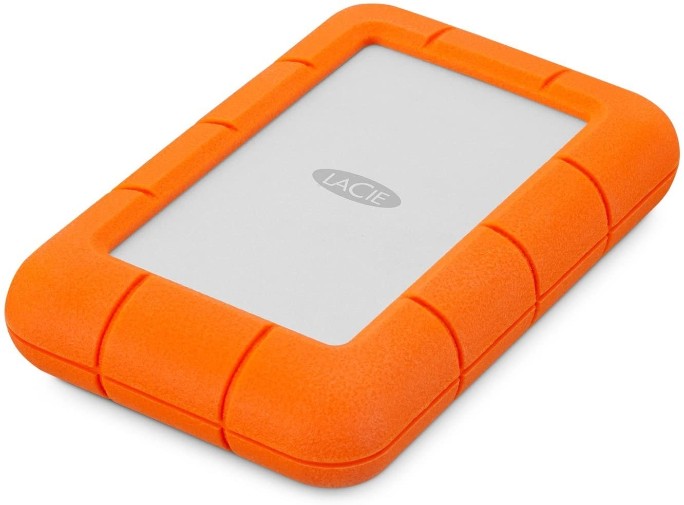 The mini hard drive with an orange exterior