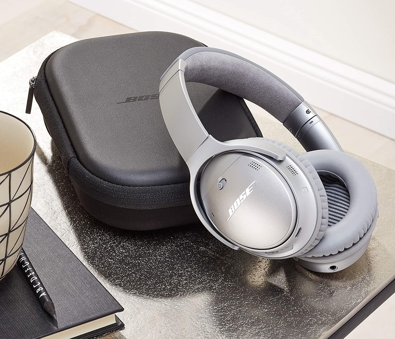 The silver over-ear headphones