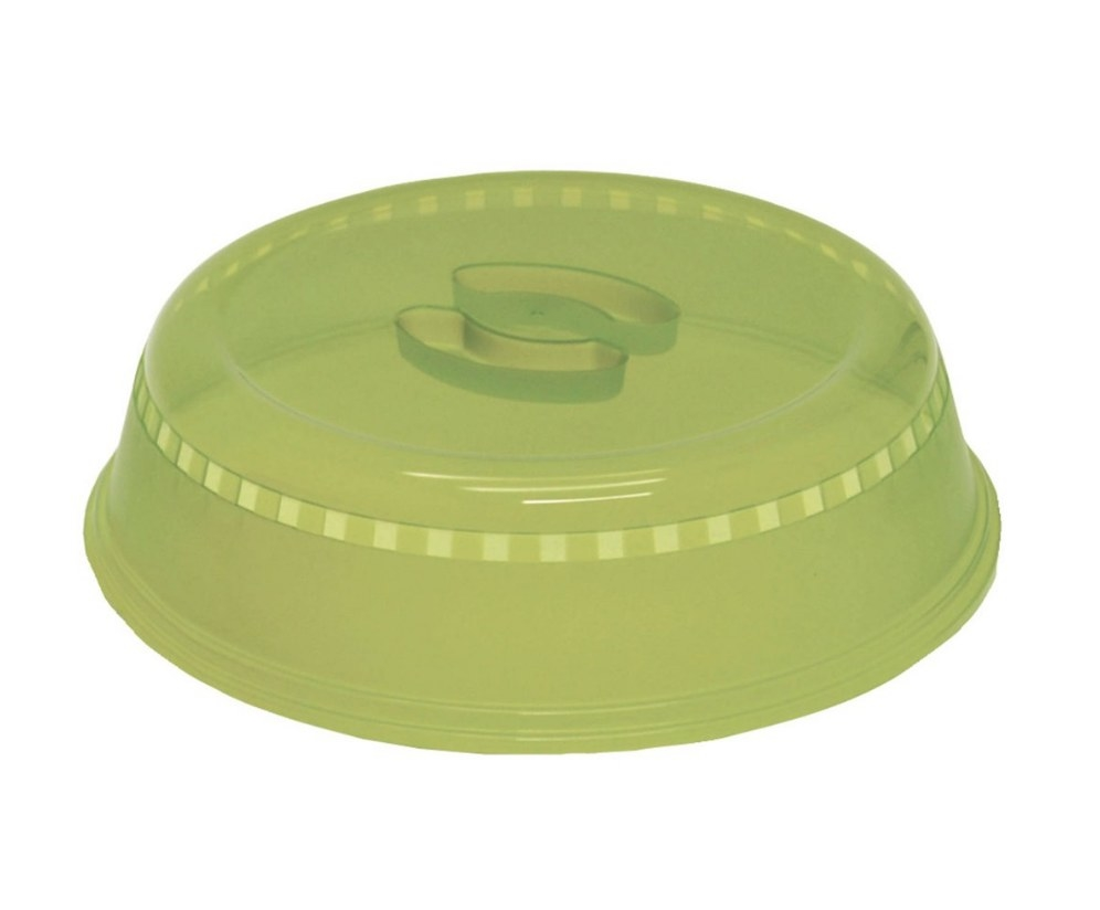 Green plastic microwave cover