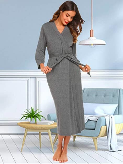 model wearing lightweight bathrobe in grey