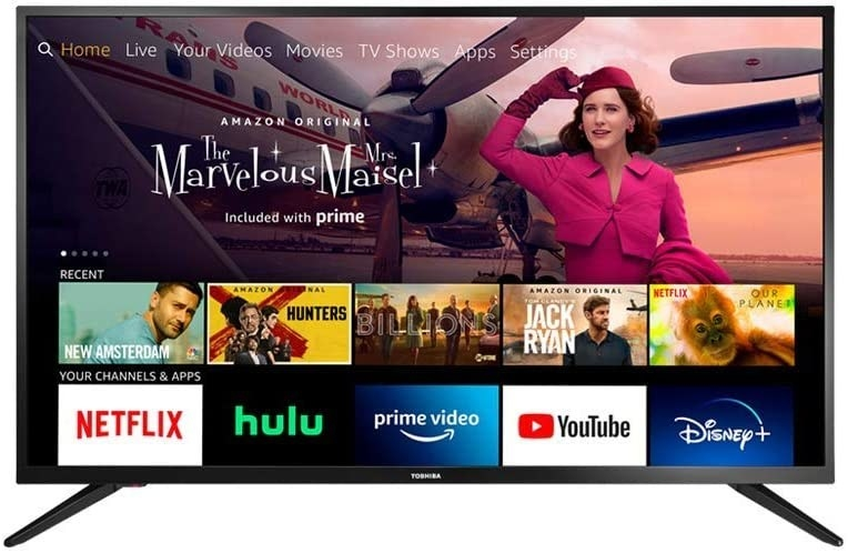 Television with streaming services featured on screen