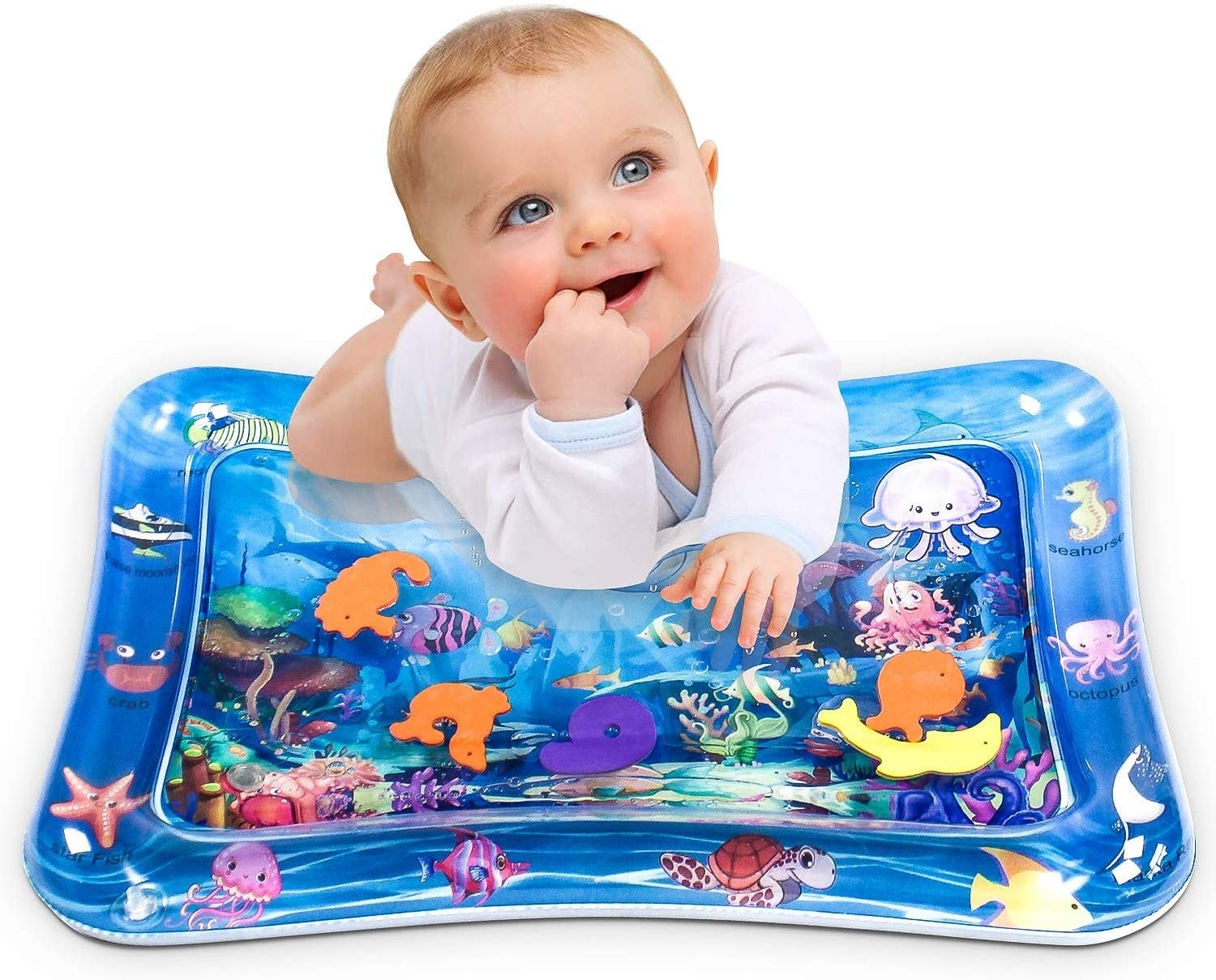 Baby on the inflated mat with a sea-theme to it