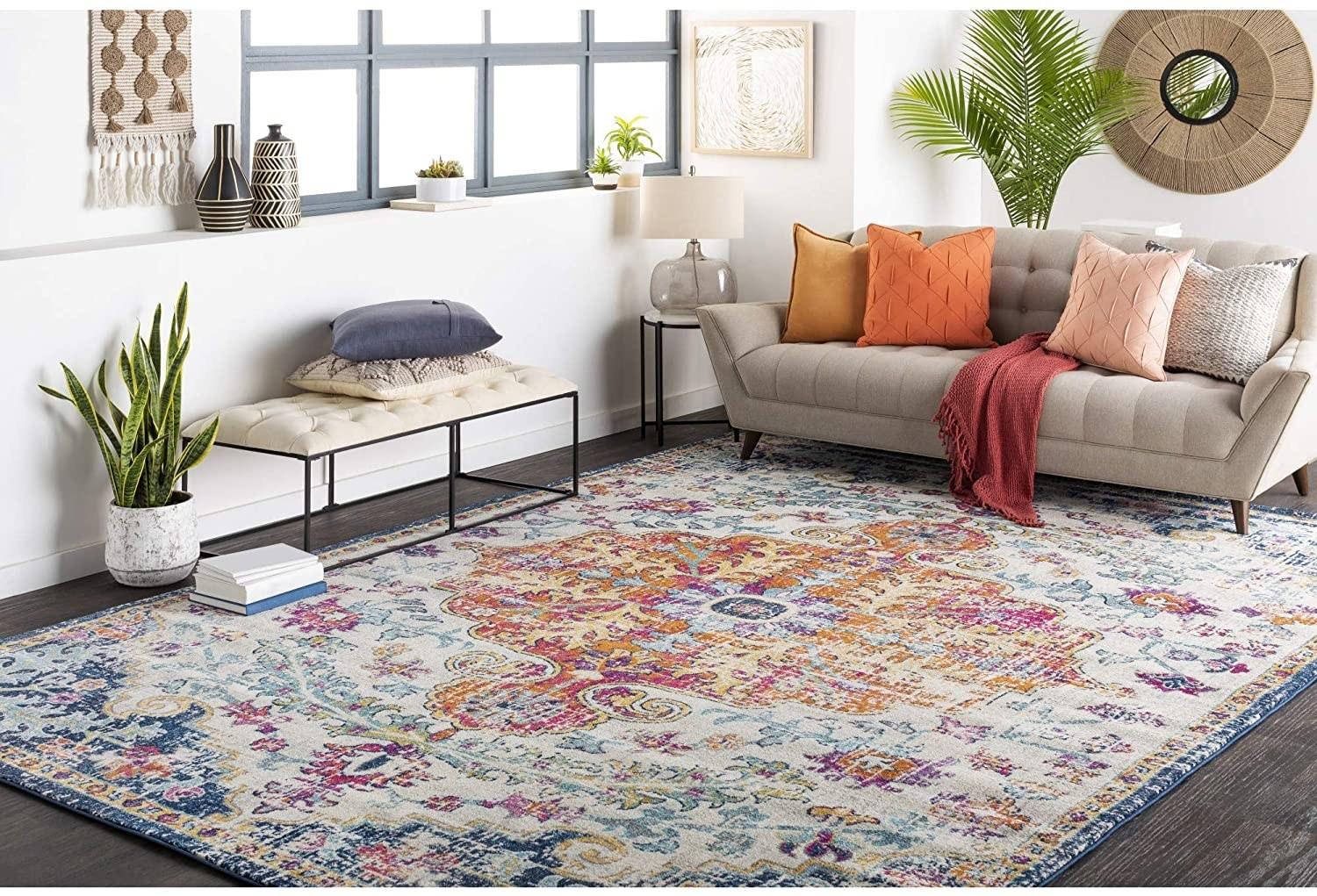 The orange/navy rug