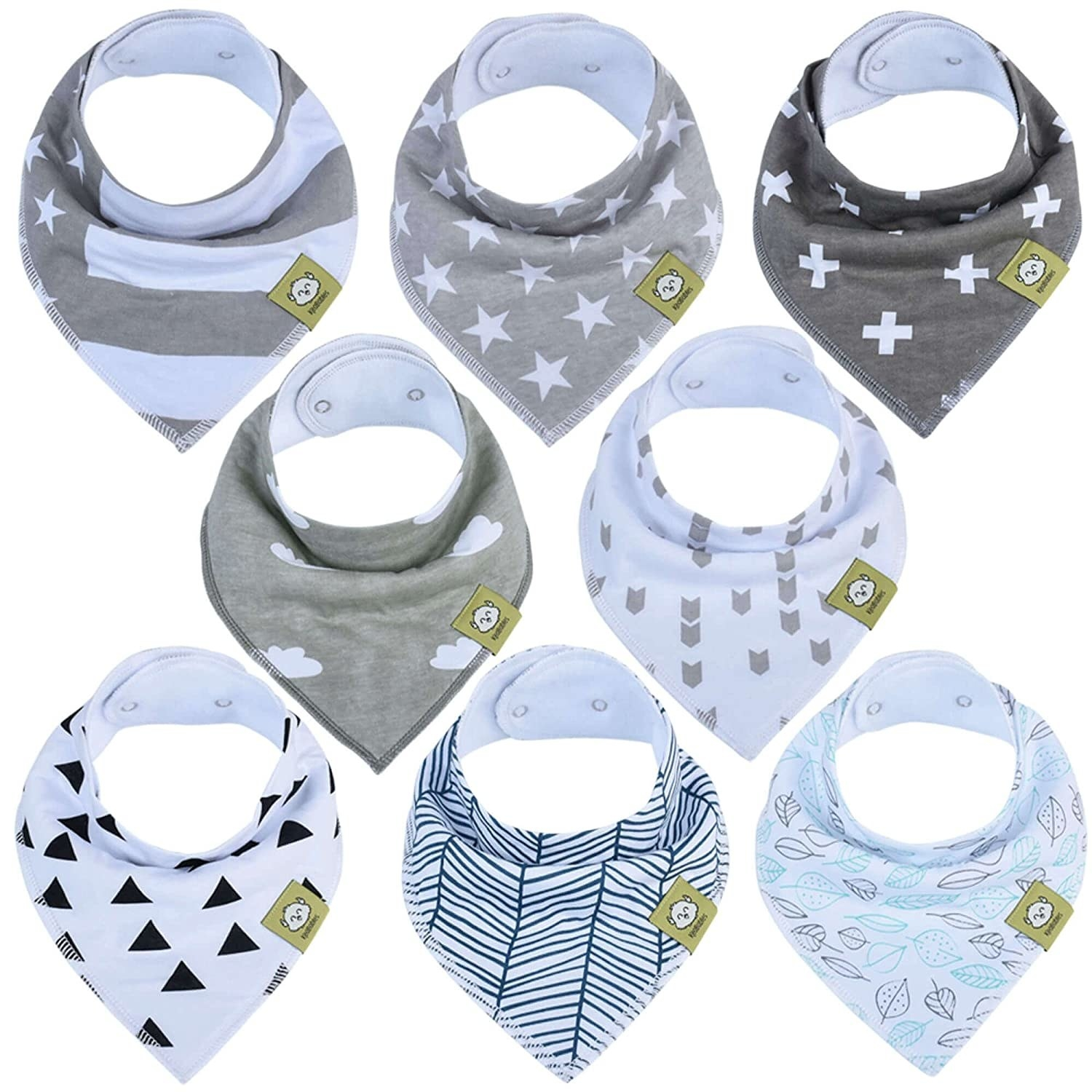 The eight bibs in different patterns