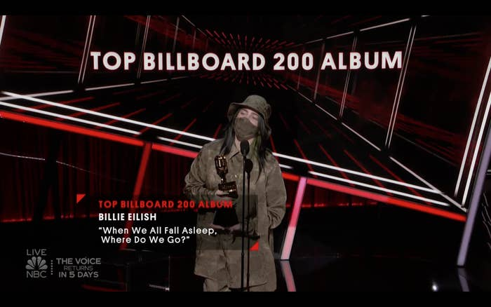 Billie Eilish at the 2020 Billboard Music Awards