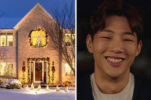 An image of a home in winter decorated for the holidays next to an image of Jisoo smiling