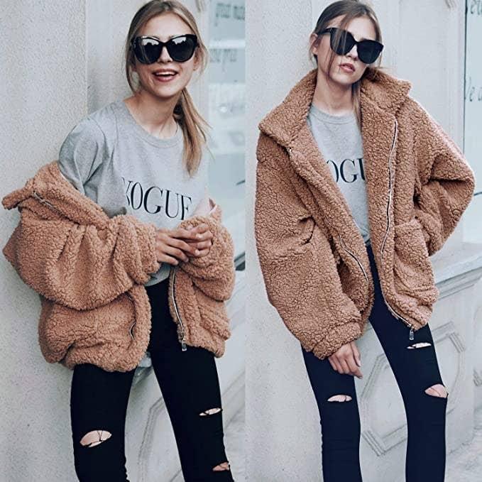 Model wearing the jacket in two ways