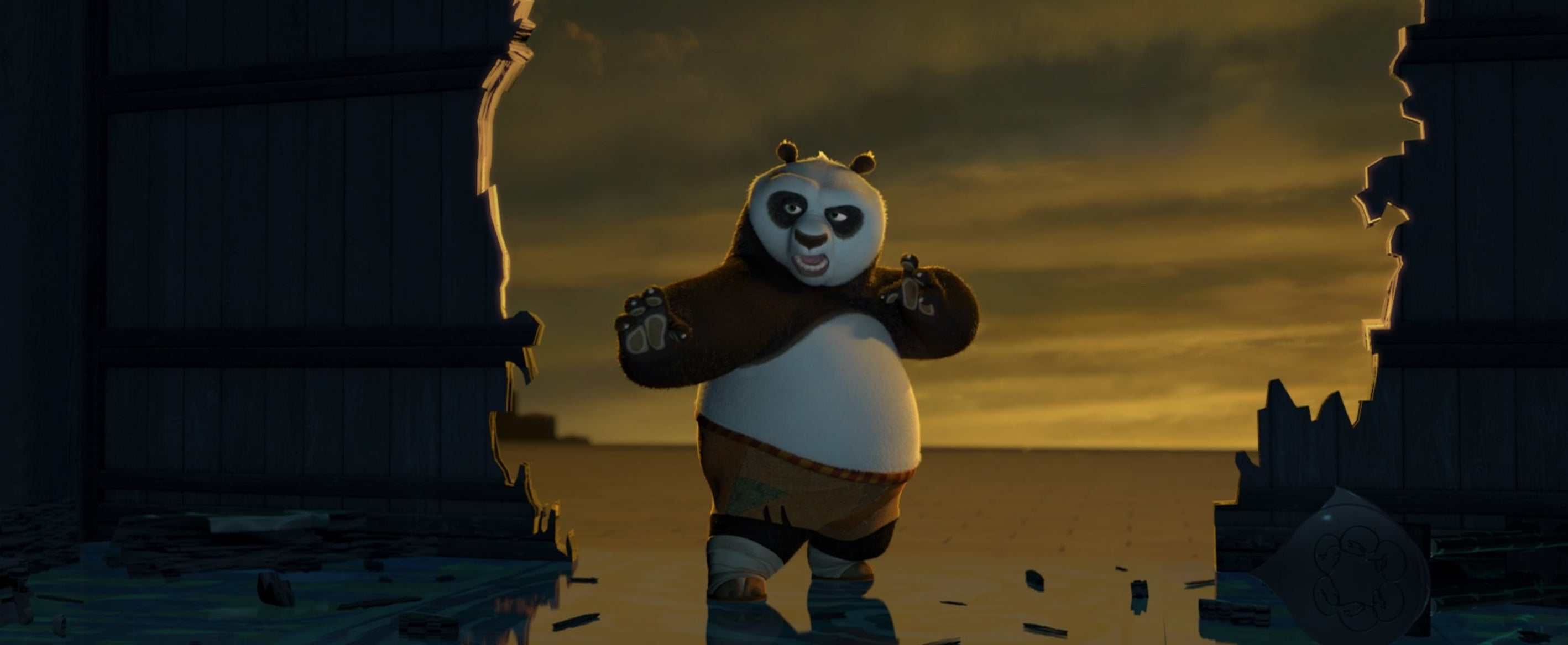An animated panda in a kung fu posture