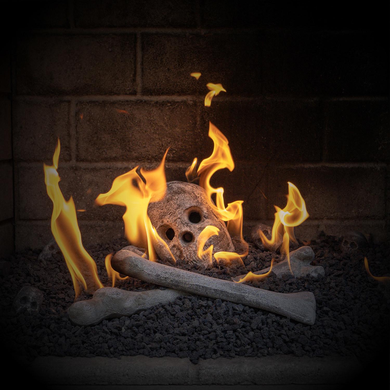 Ceramic bones in fireplace