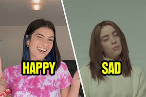 Charli D'Amelio being very happy and Billie Eilish being sad