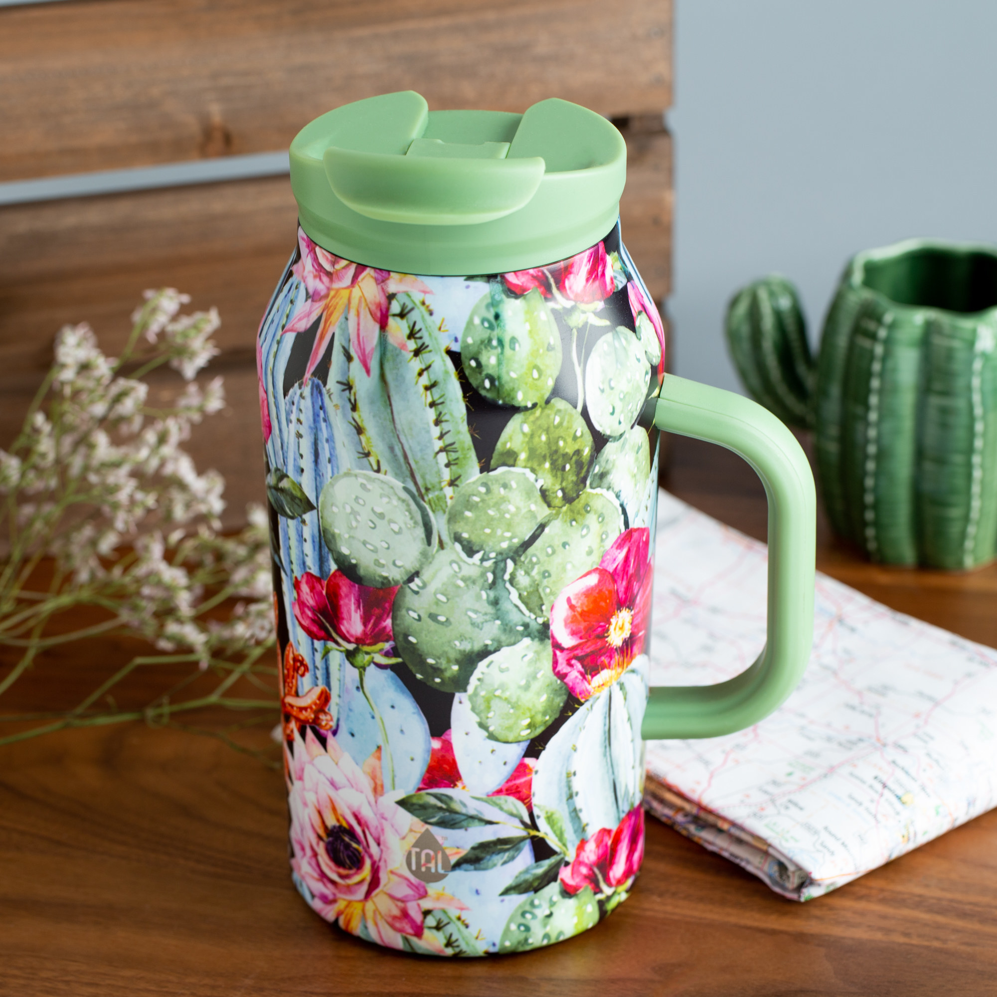 The cactus themed water bottle
