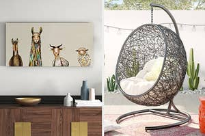 on the left an animal portrait and on right a wicker hanging chair