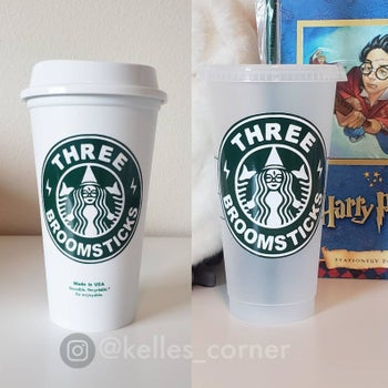 a hot cup and a cold cup with a starbucks-like logo that says three broomsticks and has a witch in the middle