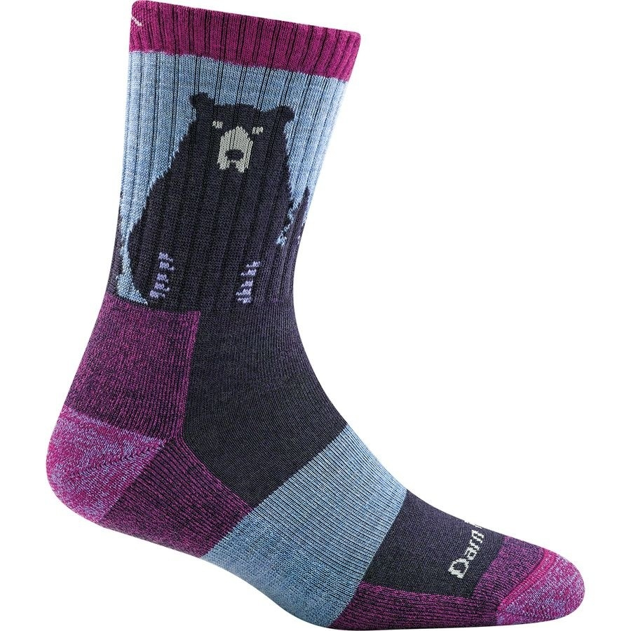 The purple sock with a bear body and face on the ankle