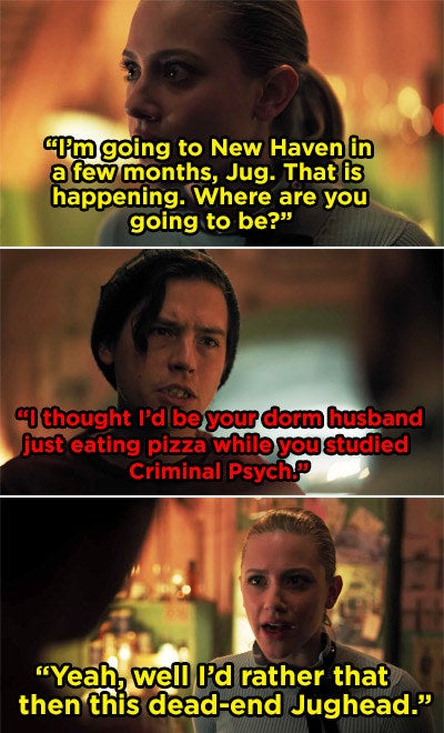 Betty and Jughead arguing about his lack of post-high school plans