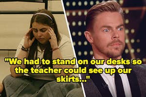 """A girl crying next to a man with a horrified face with text reading, """"We had to stand on our desks so the teacher could see up our skirts"""""""