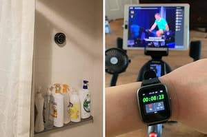 (left) Bluetooth shower speaker (right) Smart watch