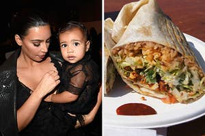 Kim and a baby North West on the left and a burrito on a paper plate on the right