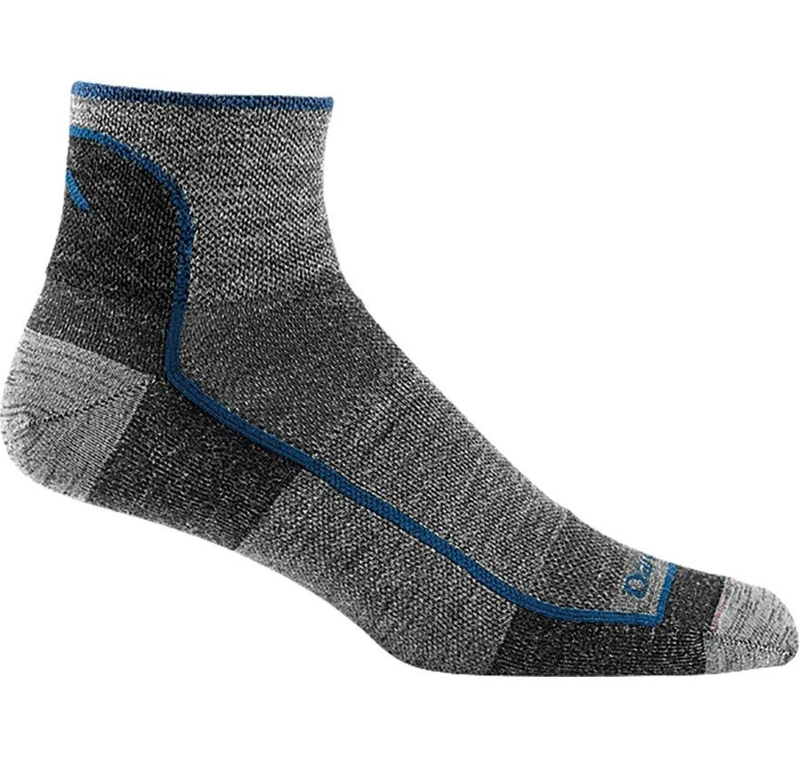 The gray ankle socks with blue trim