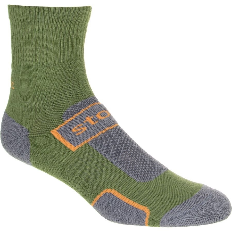 The ankle-height green and gray sock