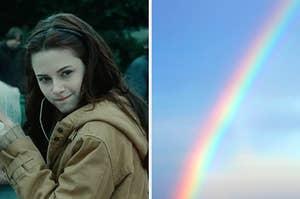 """在左边,贝拉在""""暮光之城"""",并在右边,彩虹"""