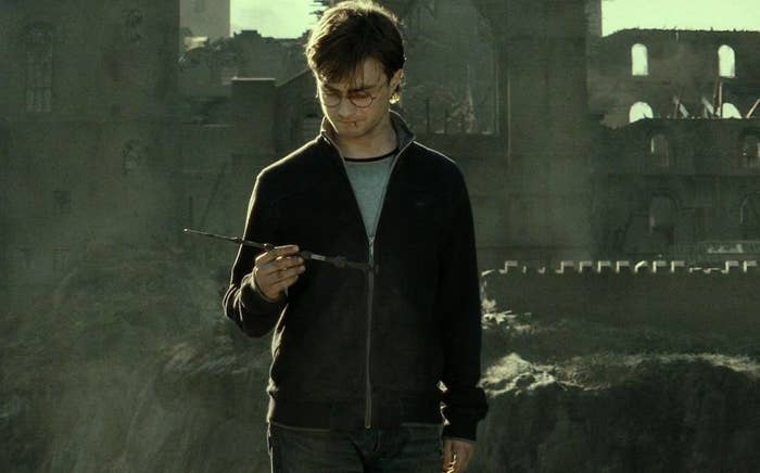 Harry holding the Elder Wand after The Battle of Hogwarts