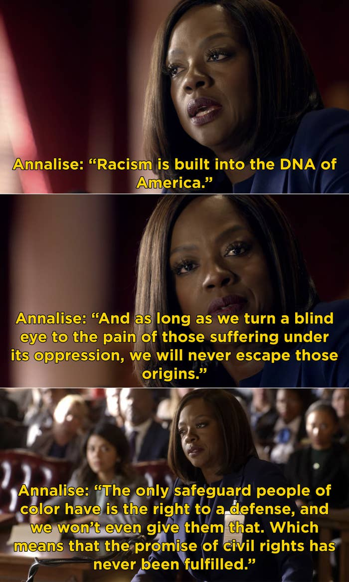 """Annalise arguing in front of the supreme court saying, """"racism is built into the DNA of America"""" and civil rights has never been truly fulfilled"""