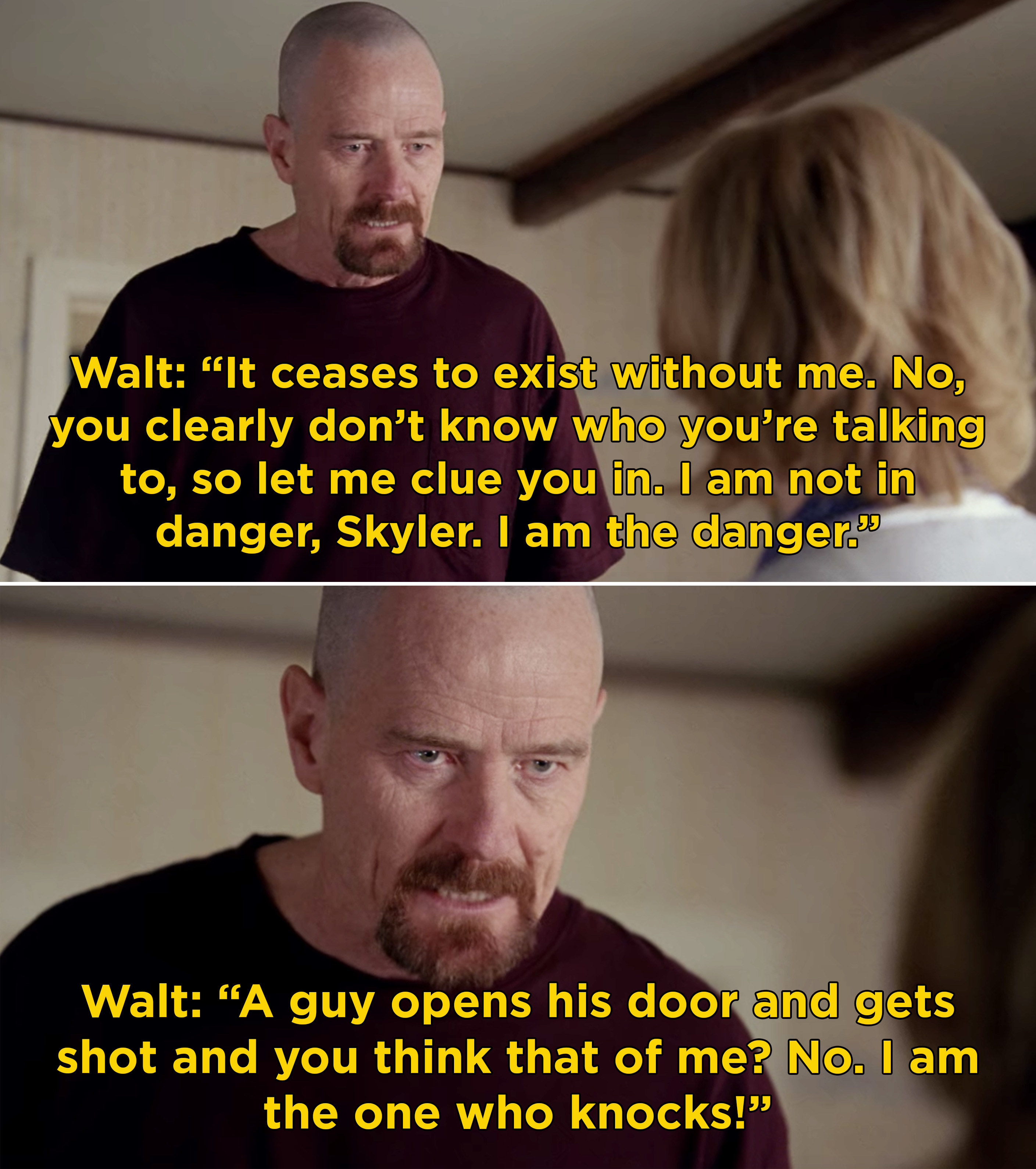"""Walt explaining to Skyler that he's not in danger and he's """"the one who knocks"""""""