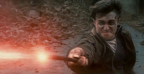 "Harry fighting Voldemort in ""Deathly Hallows"""