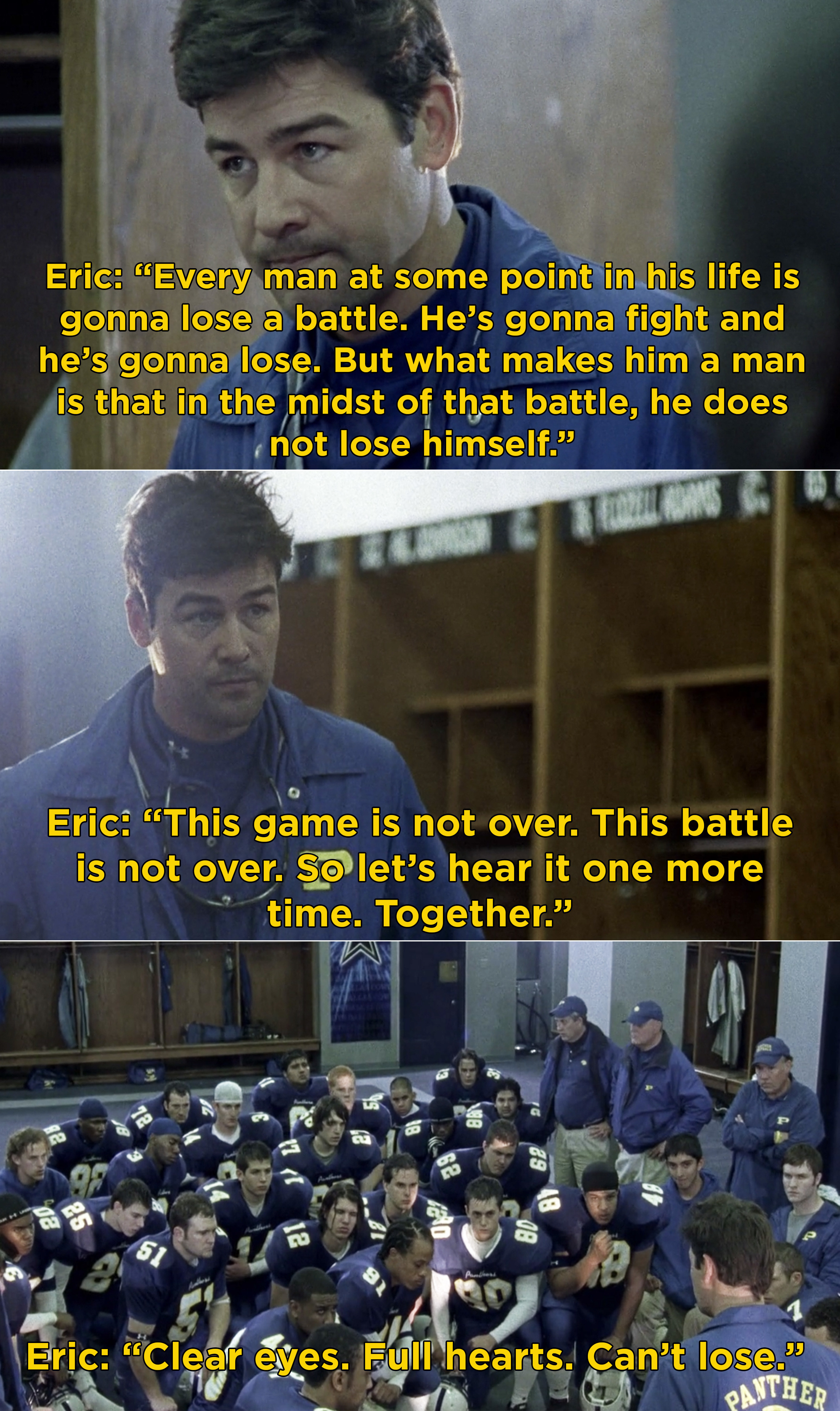 Eric saying to his team that the game is not over and it is one more battle they have to win