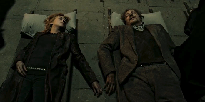Tonks and Lupin dead on cots during The Battle of Hogwarts