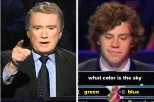 左侧雷吉斯菲尔宾,一个人在右边回答一个问题