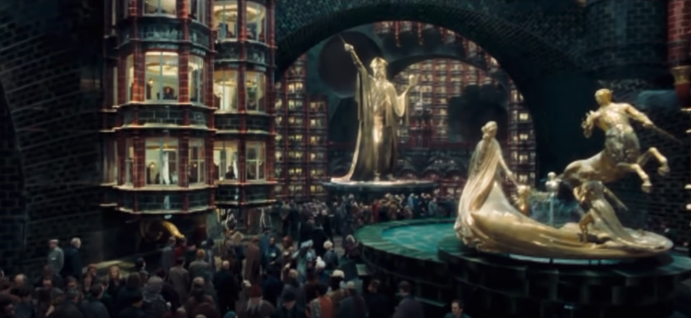 An aerial view of the ministry of magic