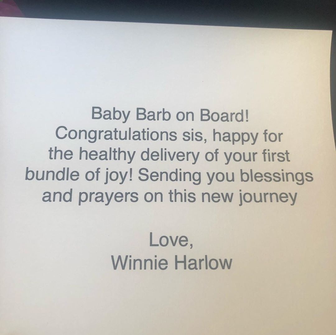 """A note from Winnie Harlow reading, """"Baby Barb on board. Congratulations, sis. Happy for the healthy delivery of your first bundle of joy! Sending you blessings and prayers on this new journey"""""""