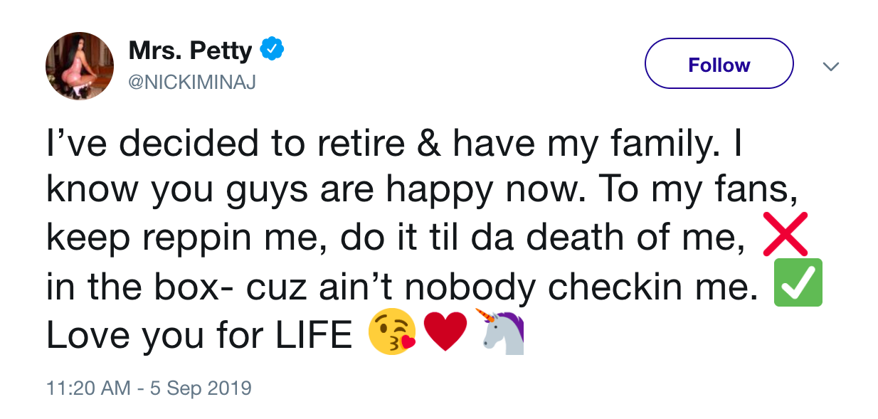Deleted tweet from Nicki Minaj about retiring and starting a family