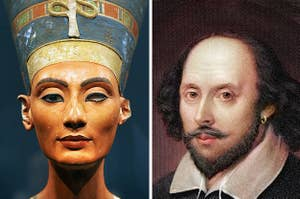 Side-by-side images of Nefertiti and William Shakespeare